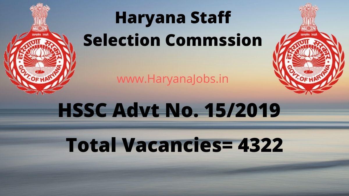 HSSC Advt 15/2019 Various 4322 Posts