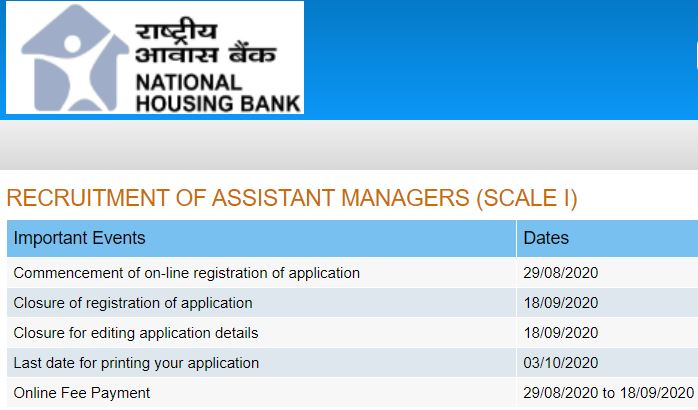 NHB Assistant Manager Recruitment 2020