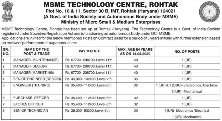 msme rohtak recruitment 2020