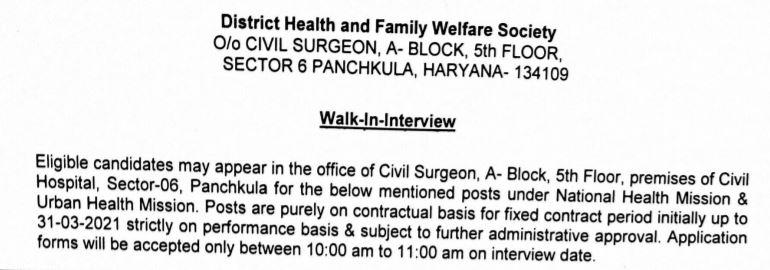 nhm haryana dhfws panchkula recruitment 2020