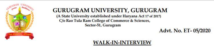 Gurugram university teaching recruitment 2020 notification