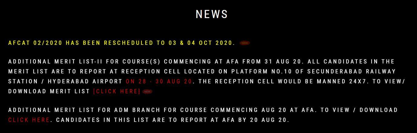 Indian Air Force AFCAT 02_2020 exam reschedule