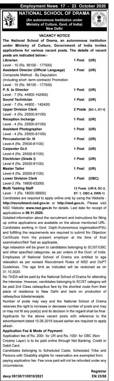 NSD Recruitment 2020 Various Posts Notification