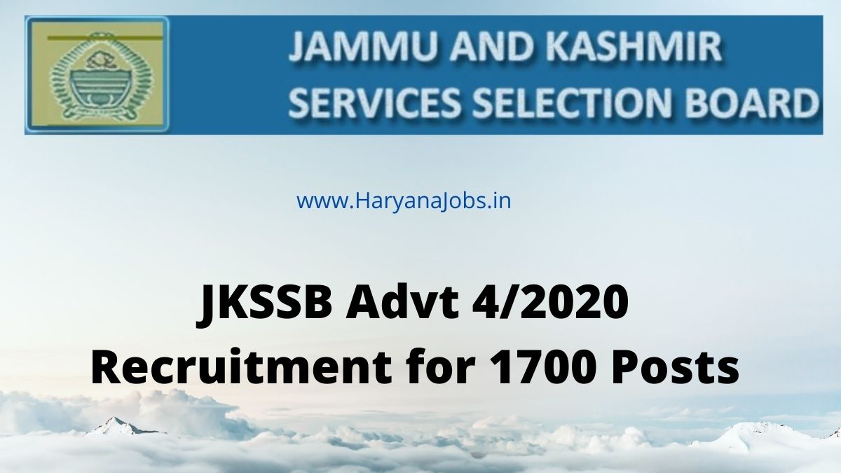JKSSB Advt 4_2020 Recruitment 1700 Post 2021