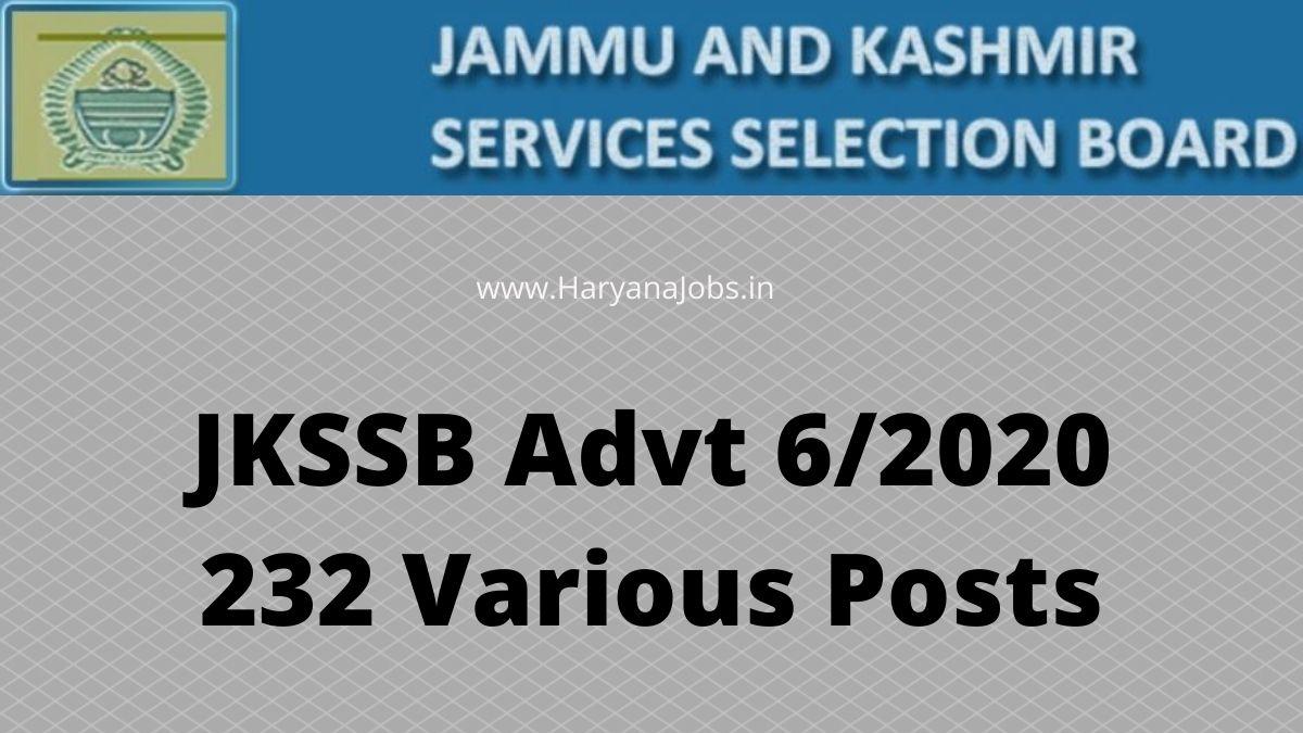 JKSSB Advt 6_2020 Recruitment 232 Post