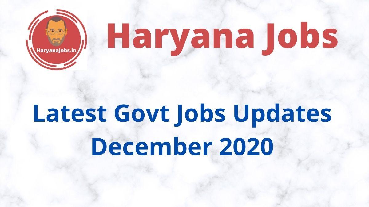 Latest Govt Jobs Updates December 2020