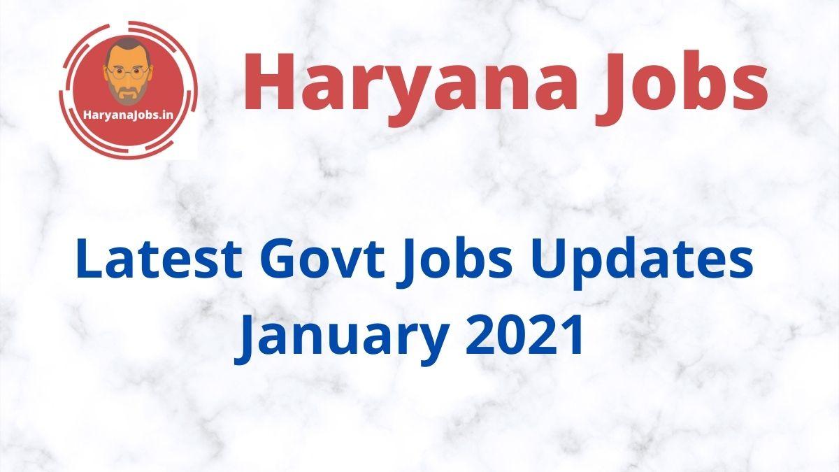 Latest Govt Jobs Updates January 2021