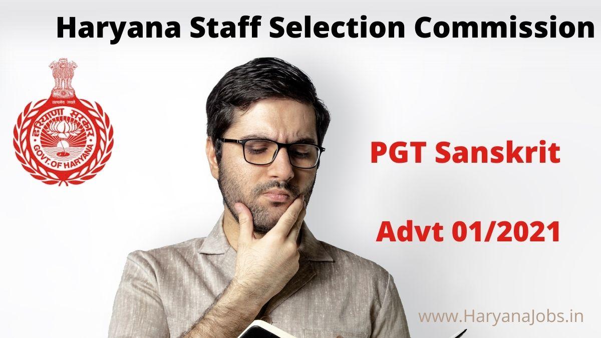 Haryana HSSC PGT Sanskrit Recruitment Advt 1_2021
