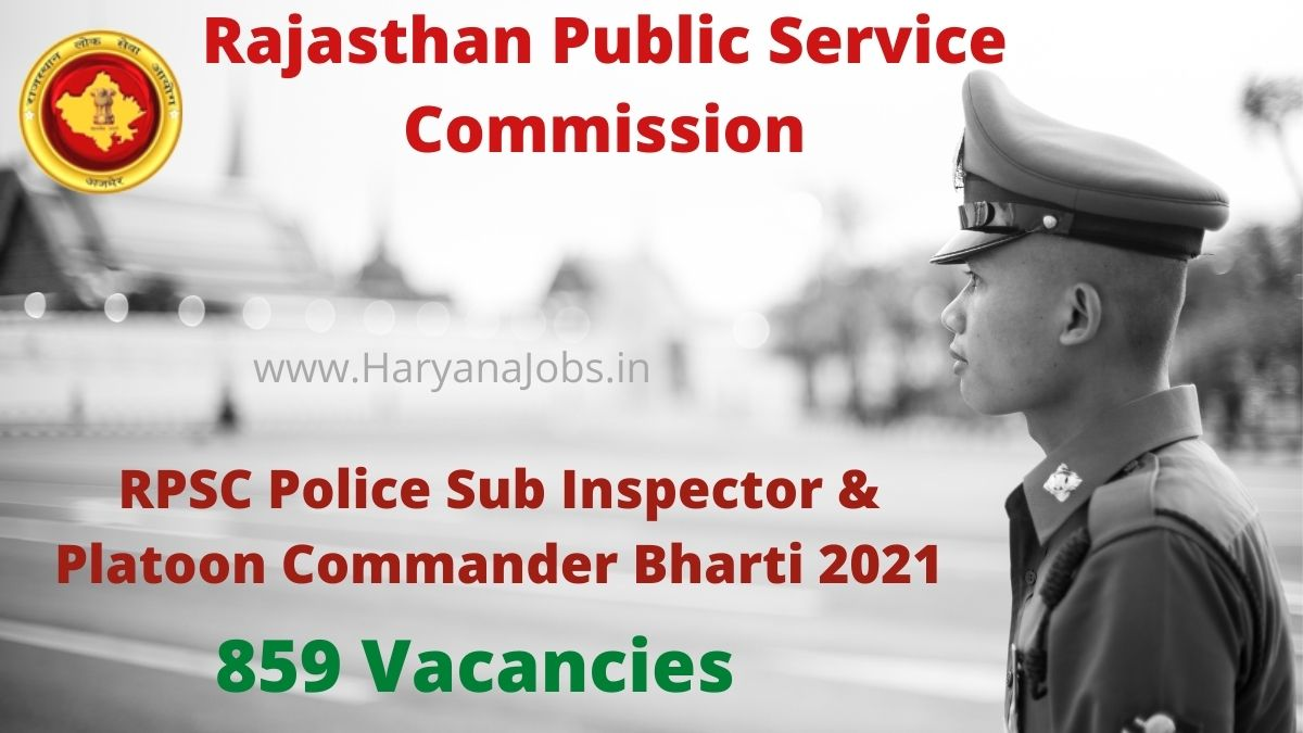 RPSC SI Recruitment 2021 for 859 posts