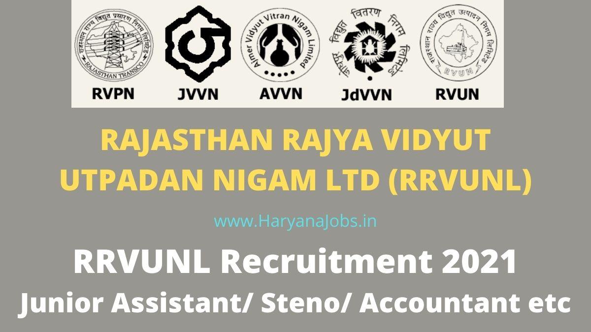 RRVUNL Junior Assistant Recruitment 2021 Steno Accountant etc