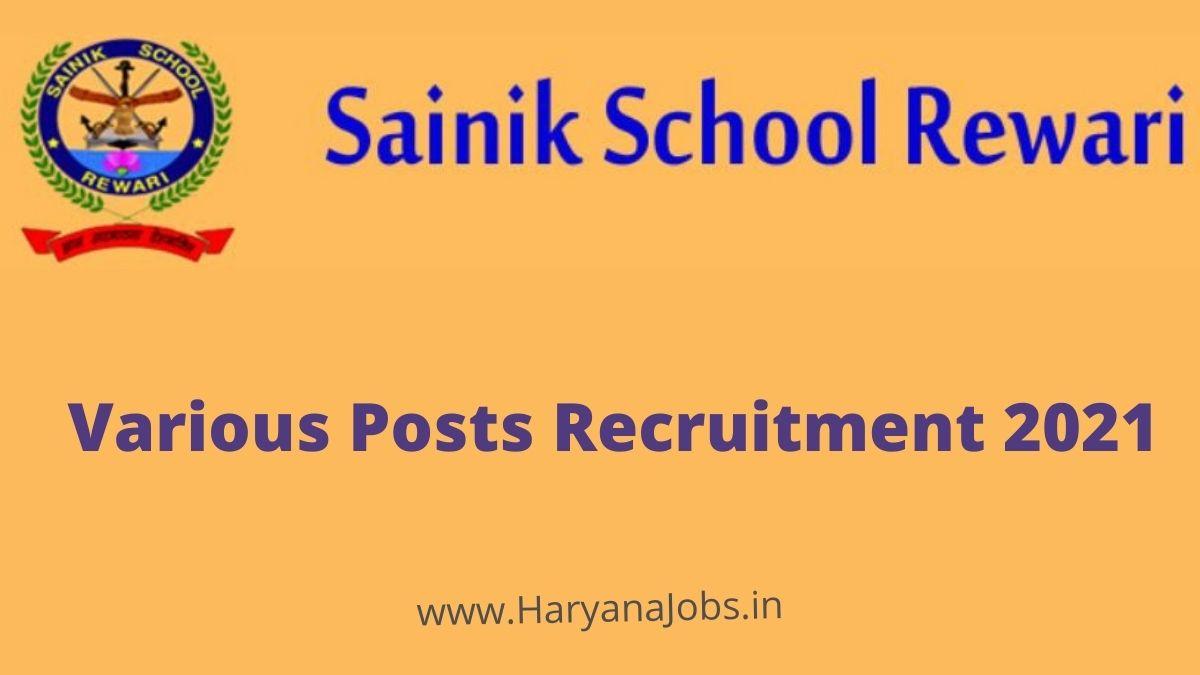 Sainik School Rewari Recruitment 2021