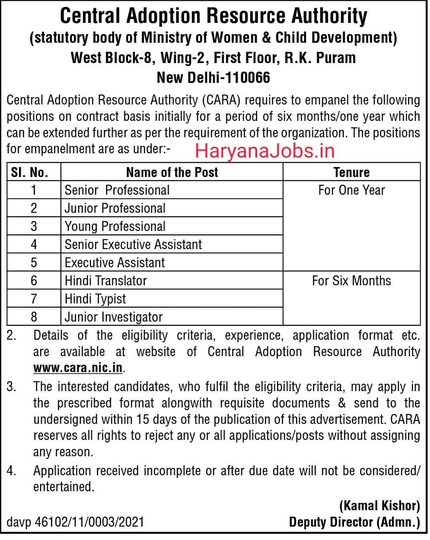 CARA Recruitment 2021 Notification