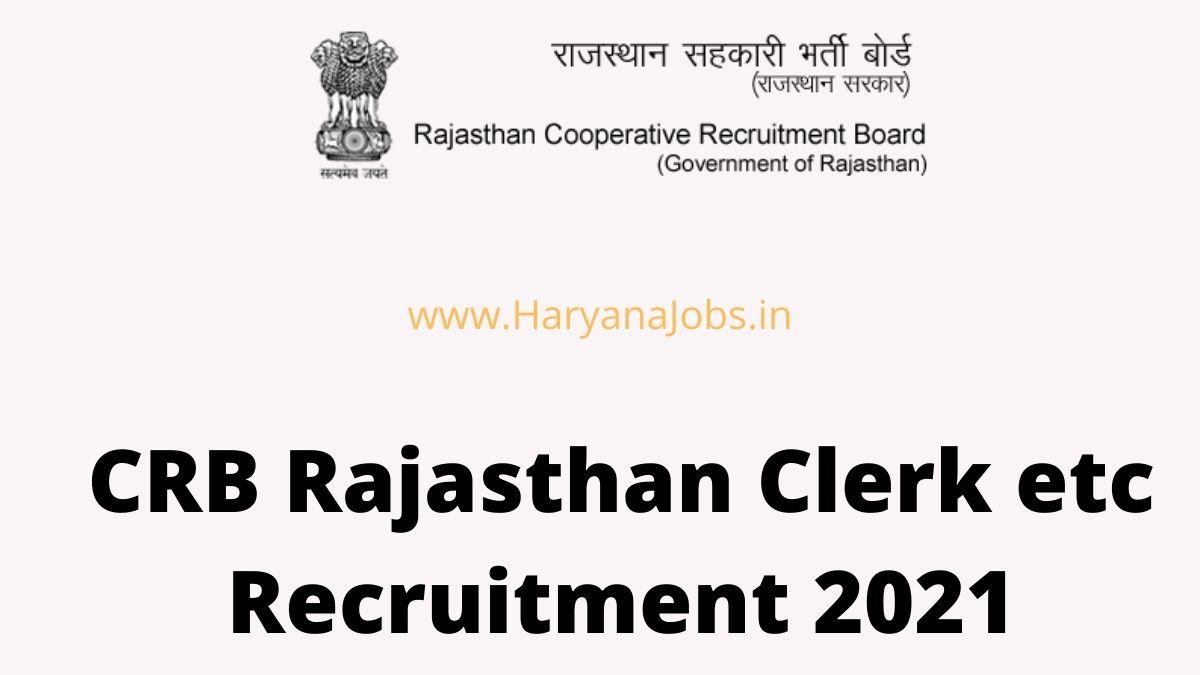 CRB Rajasthan Clerk Recruitment 2021
