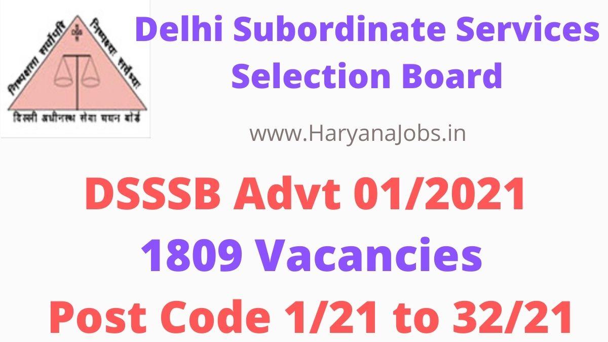DSSSB Advt 1_2021 Notification