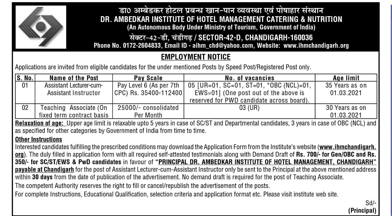 IHM Chandigarh Recruitment Notice
