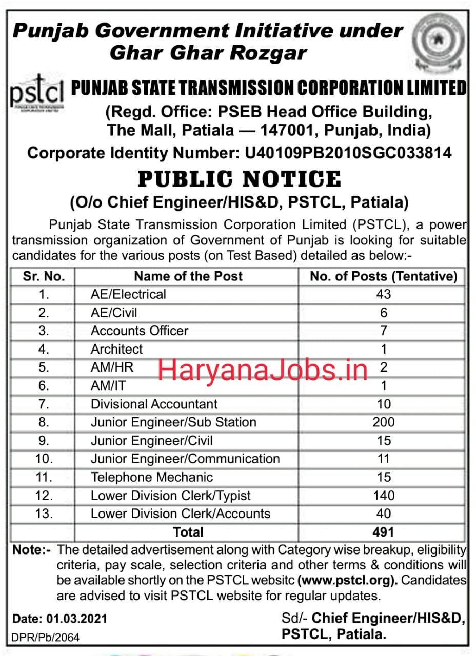 Punjab PSTCL Various Posts Recruitment 2021
