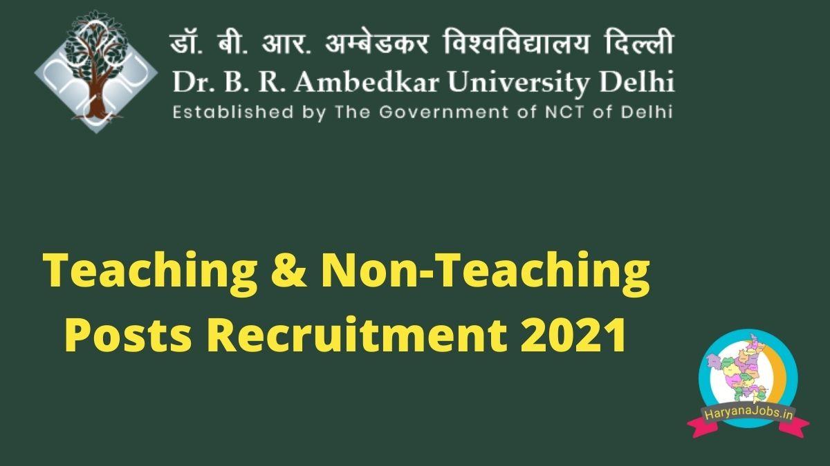 BR Ambedkar University Delhi Recruitment 2021