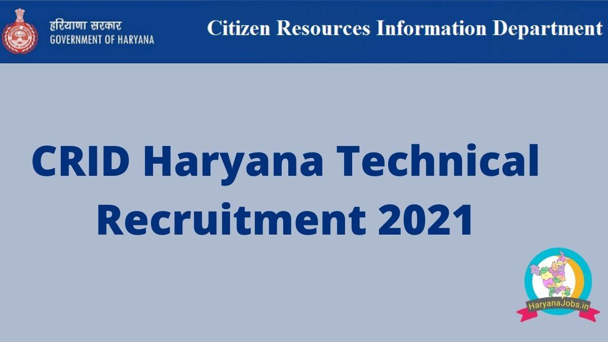 CRID Haryana Recruitment 2021