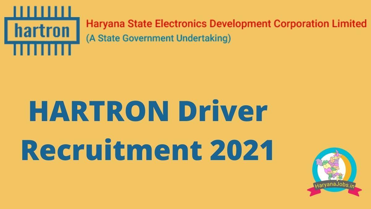 Hartron Driver Recrutiment 2021