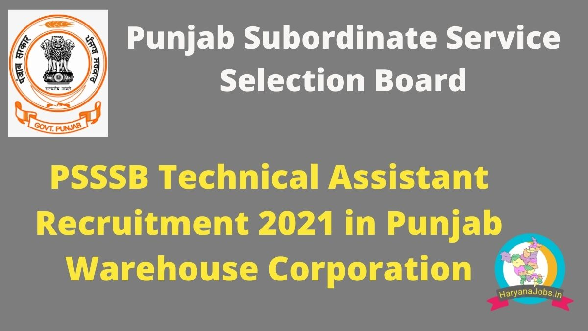 PSSSB Technical Assistant Recruitment 2021