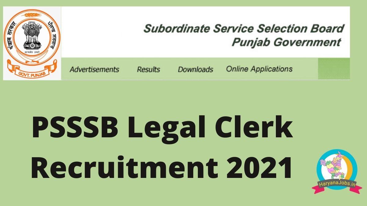 Punjab PSSSB Legal Clerk Recruitment 2021