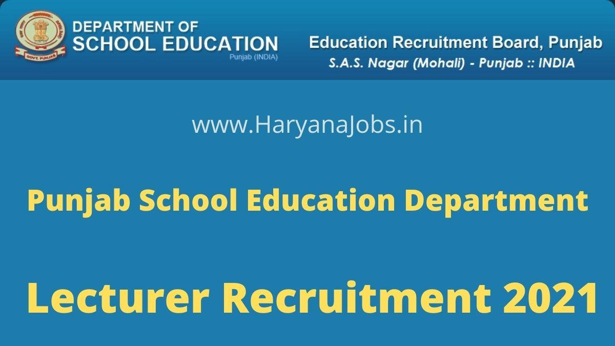 Punjab School Lecturer Recruitment 2021