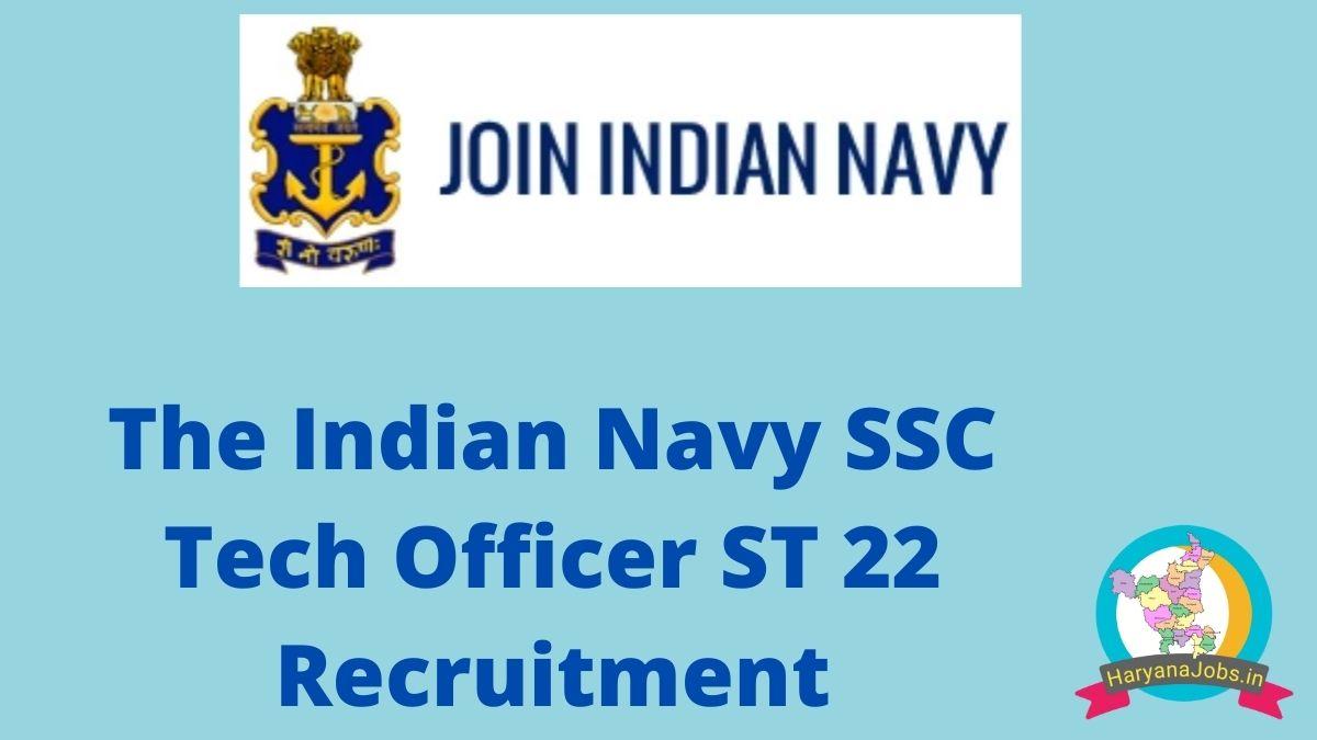 Indian Navy SSC Officer Tech Recruitment 2021 ST 22