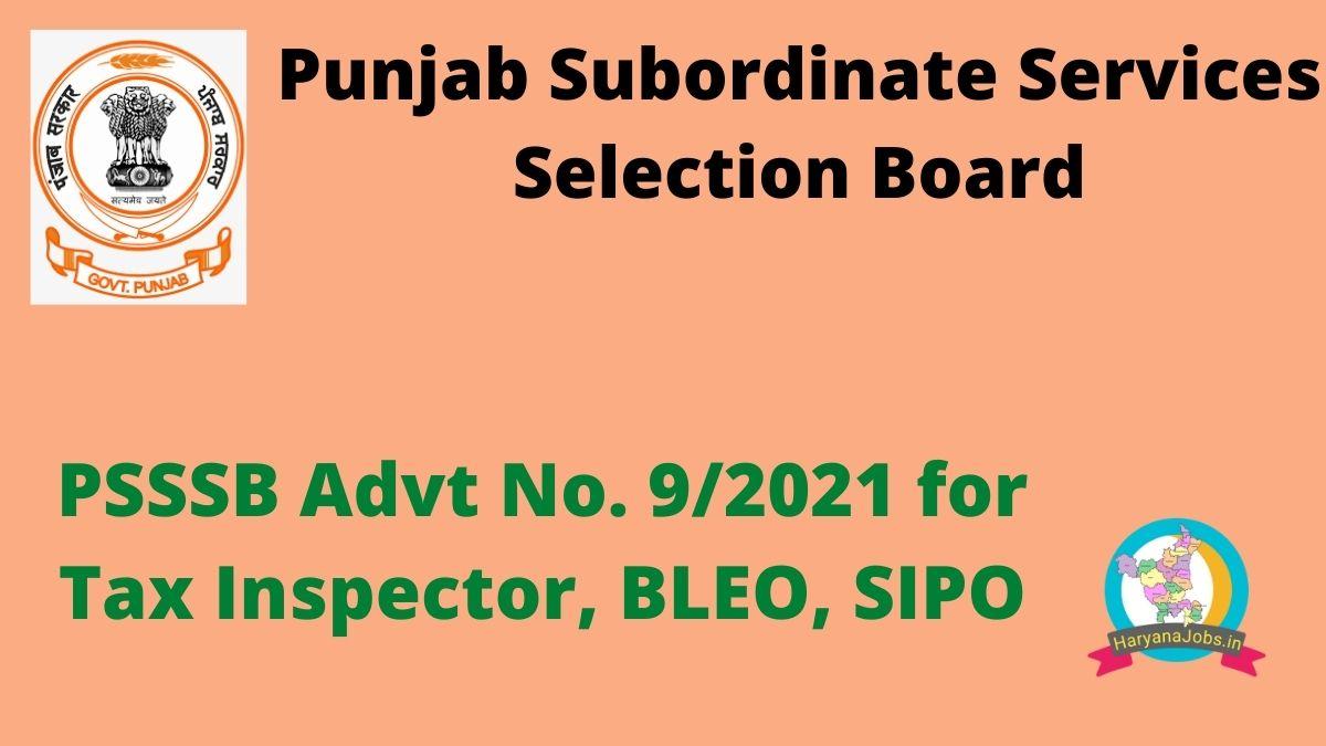 Punjab PSSSB Tax Inspector Recruitment 2021