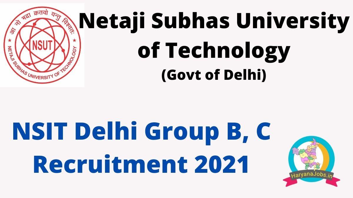 NSIT Delhi Recruitment 2021