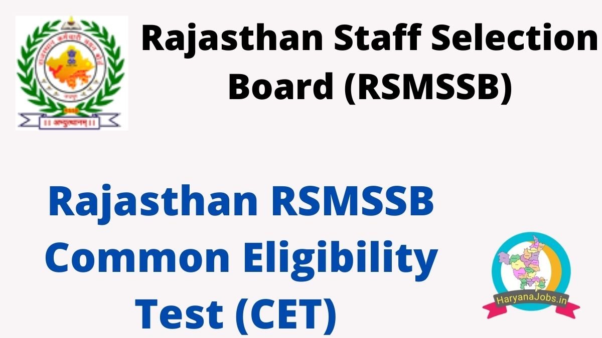 Rajasthan RSMSSB CET 2021