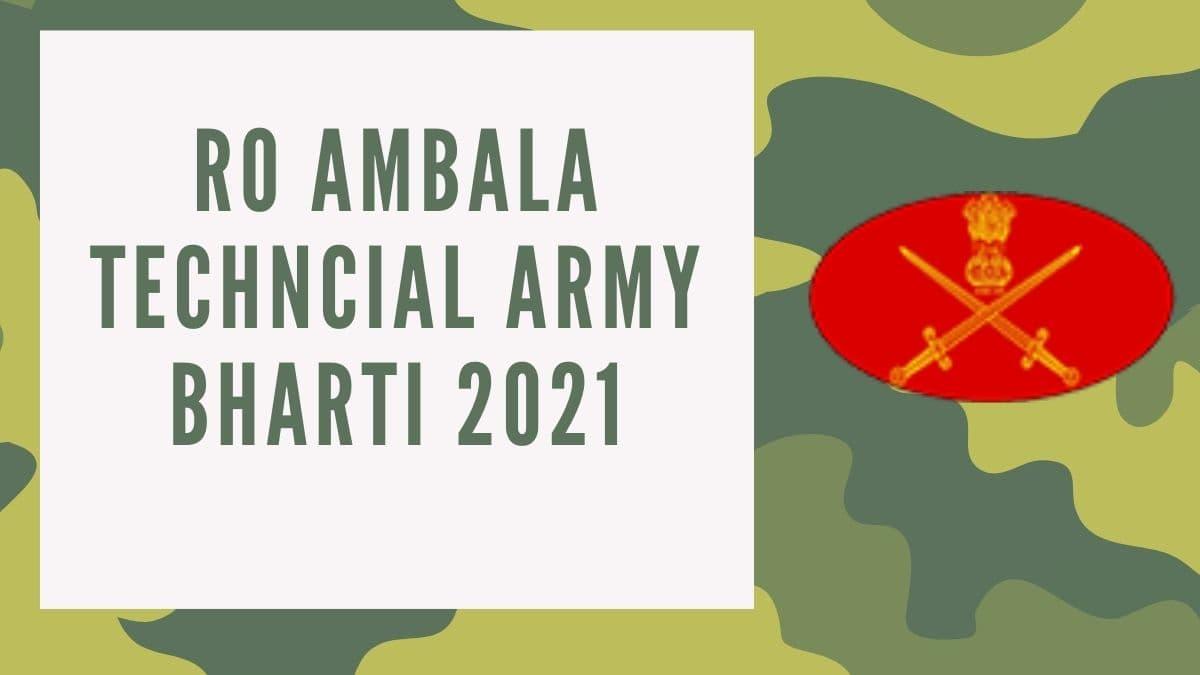 RO Ambala Technical Bharti Notification 2021