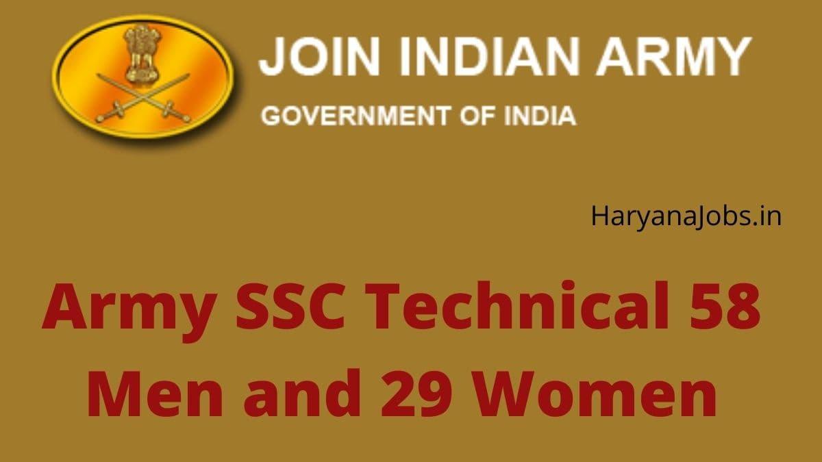 Army SSC Tech 58 Men 29 Women