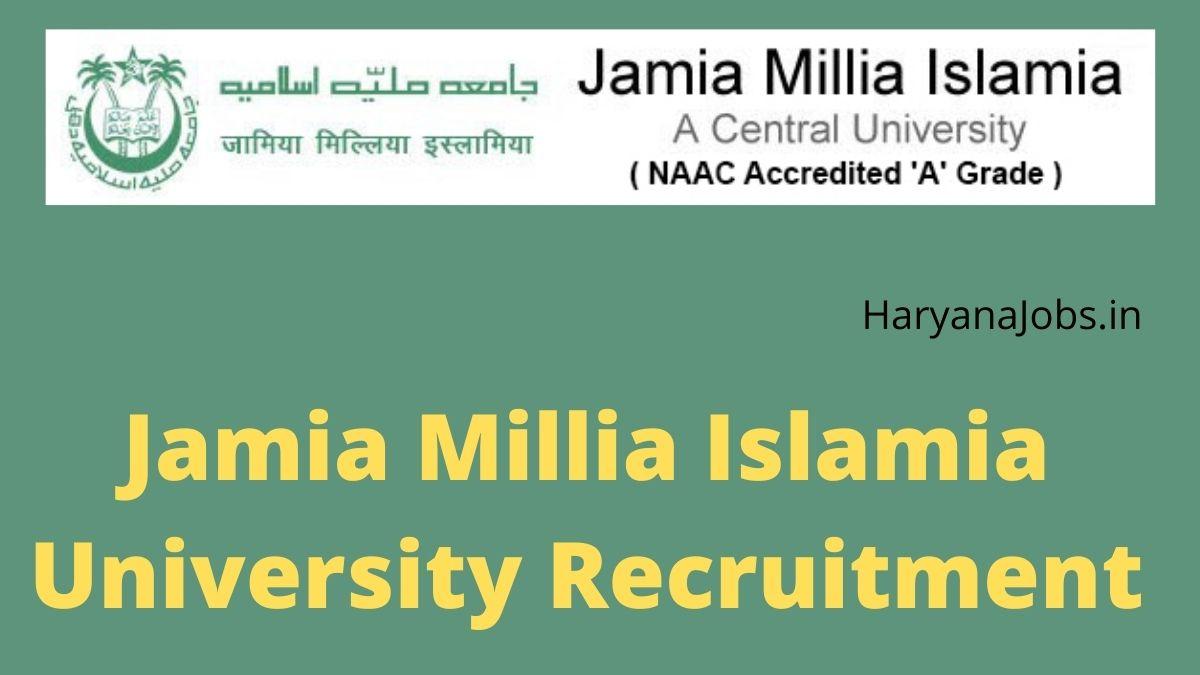 Jamia Millia Islamia University Recruitment 2021